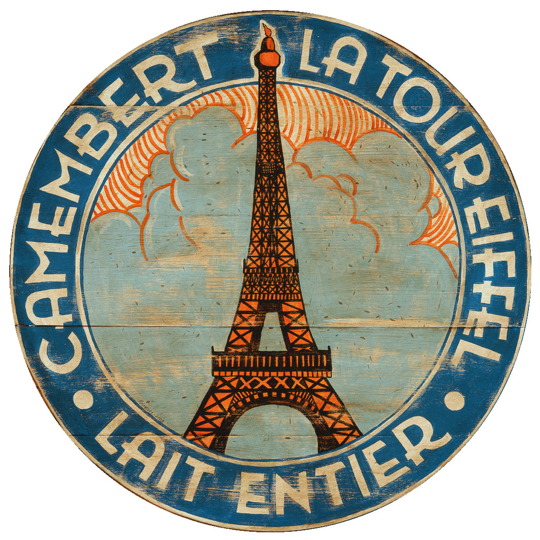 Camembert Eiffel Art in blue and orange by Darrellene Designs