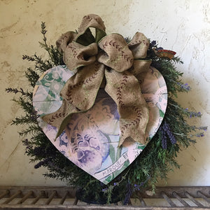 Purple Pansies Heart Board Wreath