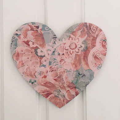 Heart Board Red and Blue Poppy Art decor