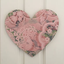 Heart Board Pink and Green Poppy Art Decor