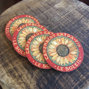 Camembert Sunflower on Sage coasters by Darrellene Designs