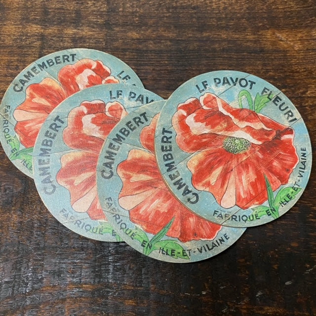 Red Poppy on blue background Coasters (set of 4)