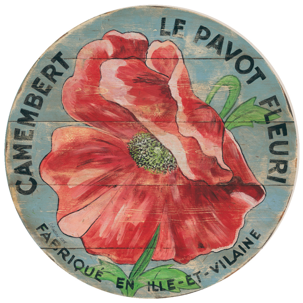 Camembert Red Poppy Art with blue background by Darrellene Designs