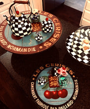 Red Cherries with Black Border Wall Art or Lazy Susan