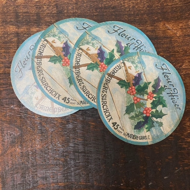 Winter Holly Christmas Coasters (set of 4)