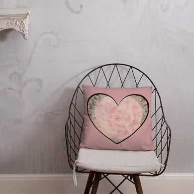 Heart Pink Flower Pillow 18 x 18