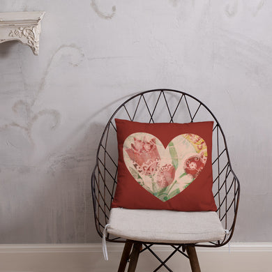 Heart Red Tulip Pillow