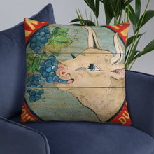 22 x 22 Cow Eating Grapes Throw Pillow