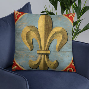22 x 22 Blue Fleur Throw Pillow