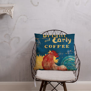 22 x 22 Bright & Early Rooster Throw Pillow