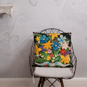 22 x 22 Bouquet of Spring Flowers Throw Pillow on black background