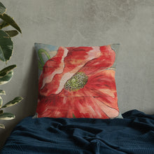 22 x 22 Red Poppy Throw Pillow on French Blue
