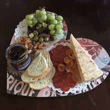 heart board Gold and Black Cherries charcuterie board is 16 1/4 x 15 on 1/4 wood