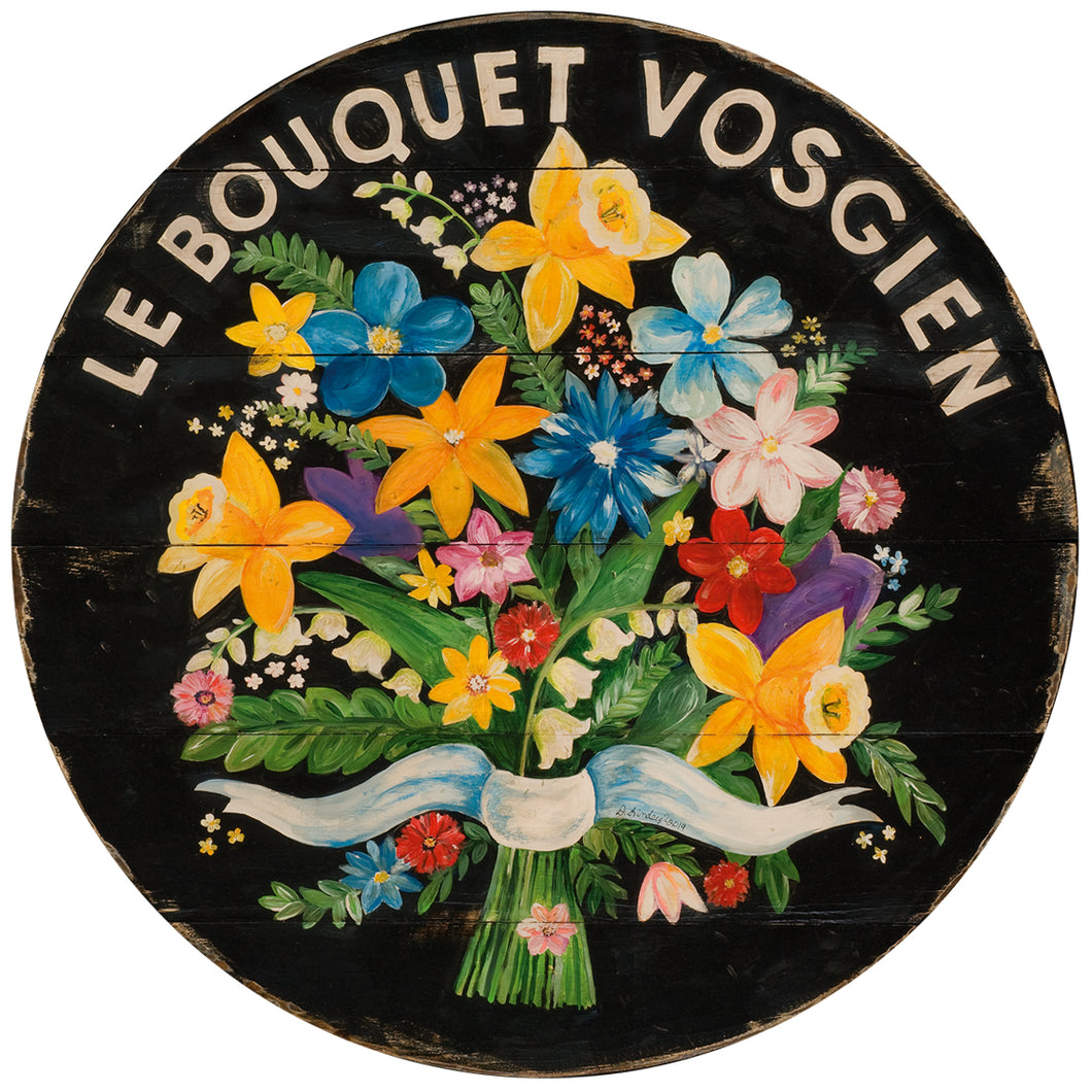 Bouquet of Flowers Black Wall Art or Lazy Susan on wood