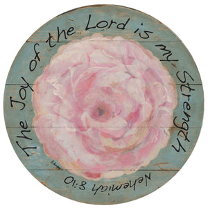 "Pink Flower Joy of the Lord 15"" or 23"" Wall Art or Lazy Susan on wood"