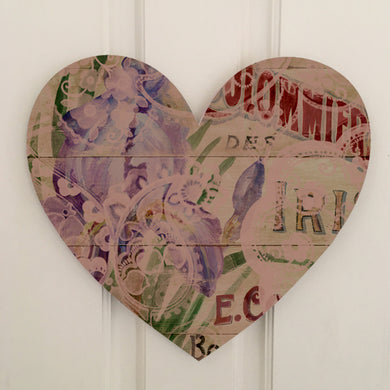 Heart Board Purple Iris Art