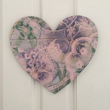 Heart Board Purple Pansies with Green and pink paisley