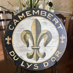 "Black & Gold Fleur De Lis 23"" Wall Art or Lazy Susan"