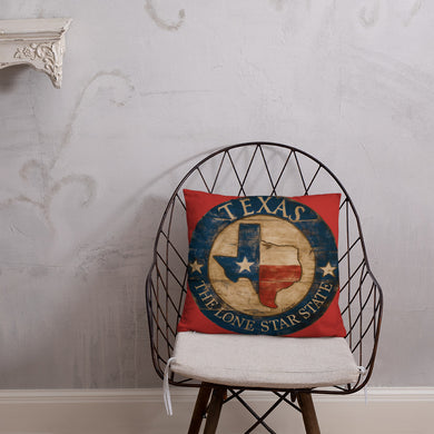 Texas Pillow on Red 18 x 18