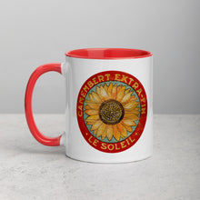 Yellow Sunflower on Blue Mug with Color Inside