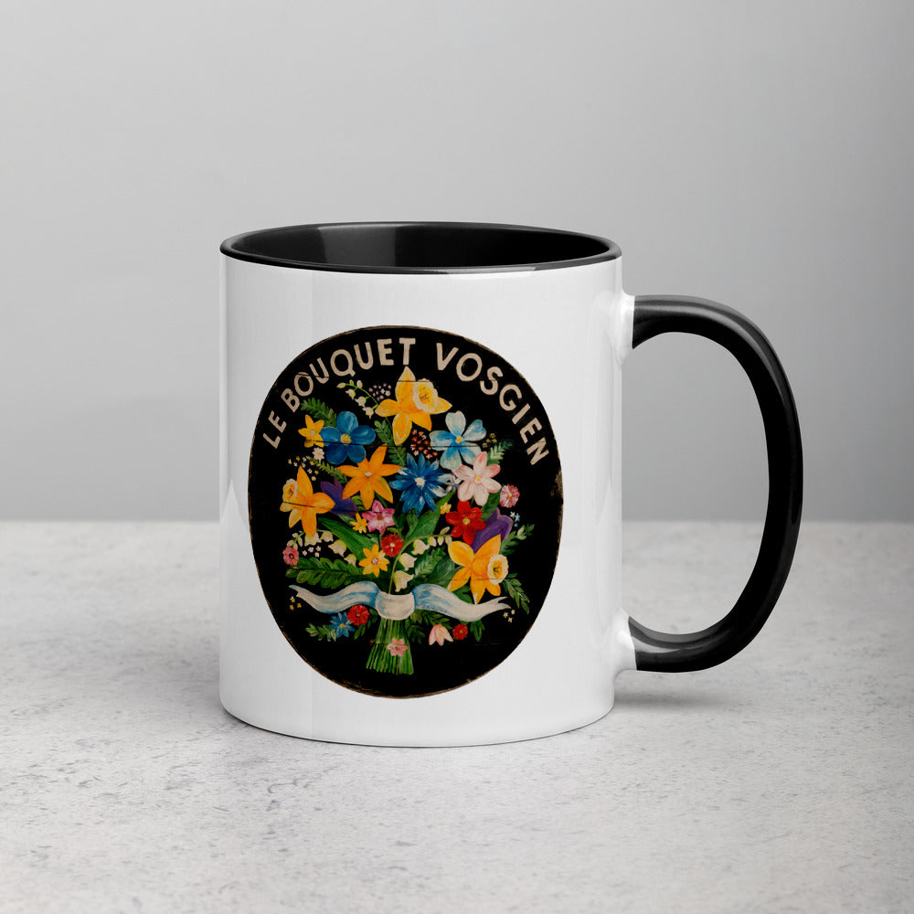Bouquet of Flowers on black Mug with Color Inside