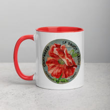 Red Poppy on blue Mug with Color Inside