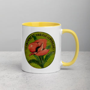 Pink Poppy Mug on green with Color Inside