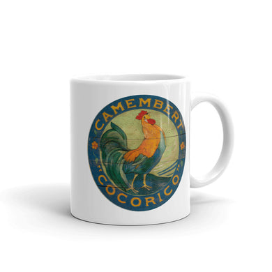 Blue Rooster White Glossy Mug