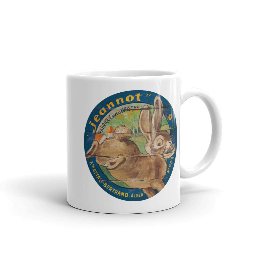 Brown Rabbit White Glossy Mug