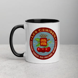Cherries with red border Mug with Color Inside