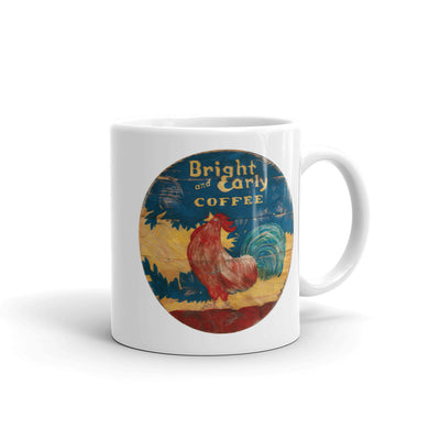 Bright & Early Rooster White Glossy Mug
