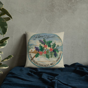 Winter Holly on Cream Pillow 18 x 18