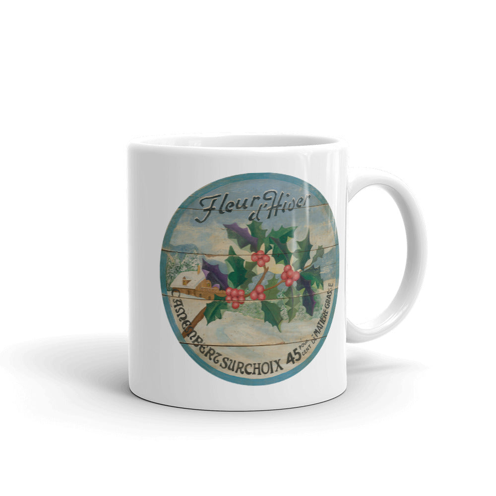 Winter Holly White Glossy Mug
