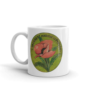 Pink Poppy on green White Glossy Mug