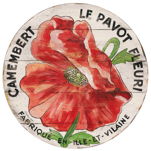 "Red Poppy on Cream 15"" or 23"" Wall Art or Lazy Susan"