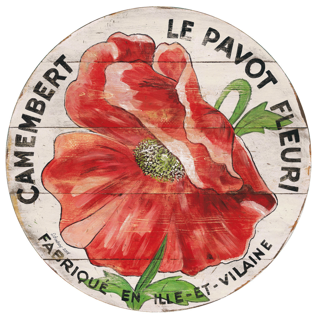 Camembert Red Poppy Art with cream background by Darrellene Designs