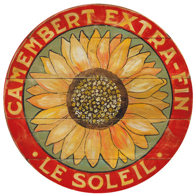 Camembert Yellow Sunflower Art with sage background by Darrellene Designs