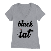 Load image into Gallery viewer, BLACK CAT DESIGN ATHLETIC HEATHER FOR WOMEN