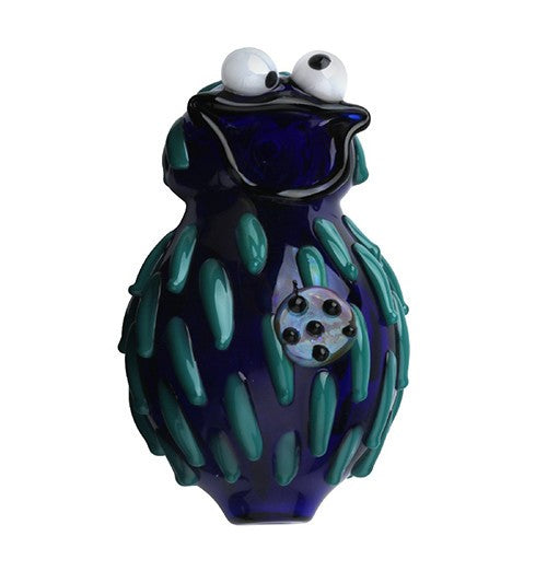 Crush Glass Blue Hairy Monster Pipe