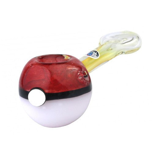 Crush Glass Red Ball w/ Black Stripe Hand Pipe