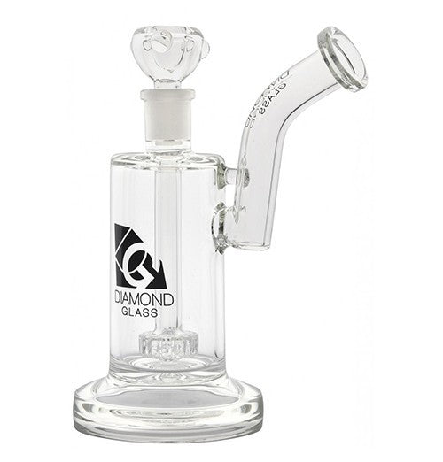 "Diamond Glass 7"" Thick Based Showerhead Percolator Rig, with Sherlock Mouthpiece"