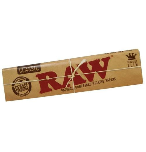 Raw Classic King Slim Rolling Papers  - Pack of 5 - 32 Leaves Per Pack