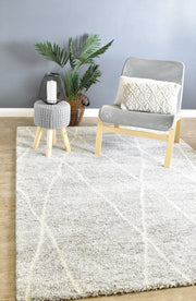 Modern Designer Shaggy Rug Light Grey