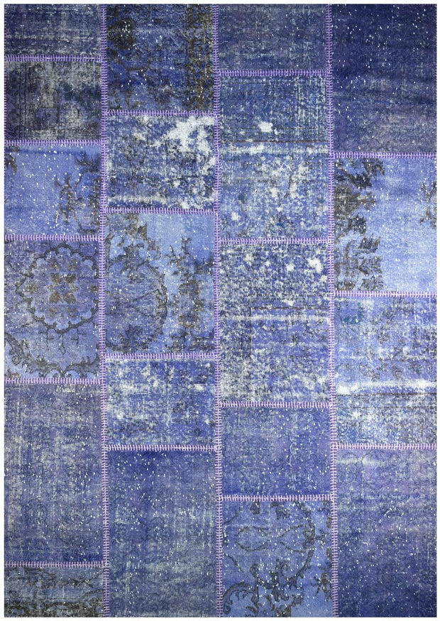 Handmade Persian Patchwork Purple Coloured Rug