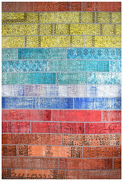Handmade Persian Patchwork Multi Coloured Rug