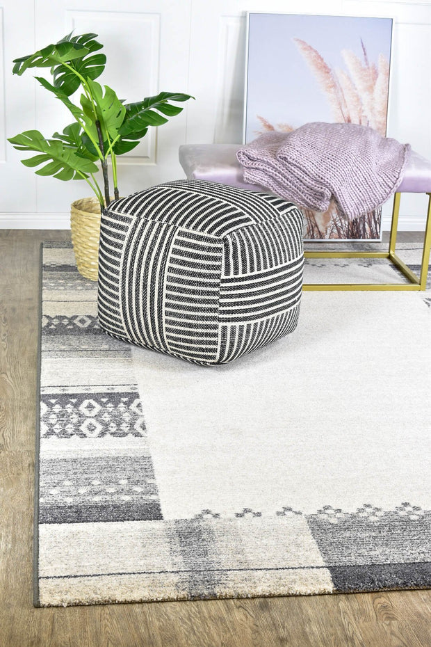 Boarder Pattern Grey Rug Sian 32681-6298