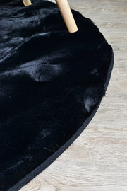 Plush Shaggy Round Black