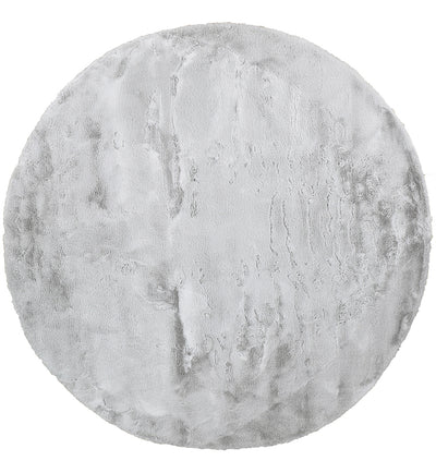 Plush Shaggy Round Light Grey