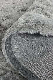 Plush Shaggy Round Grey
