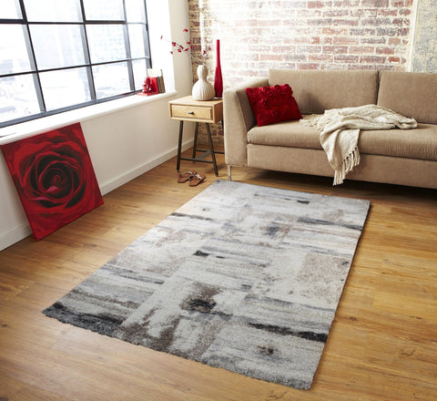 Modern Designer Shaggy Rug Cream Brown